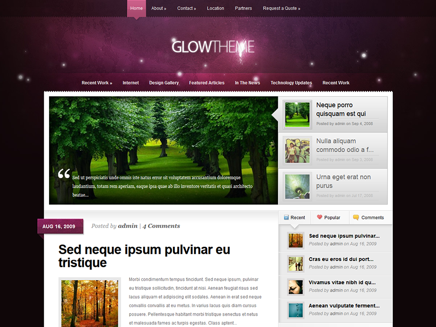 Glow - Elegant Themes templates free of charge on Altervista