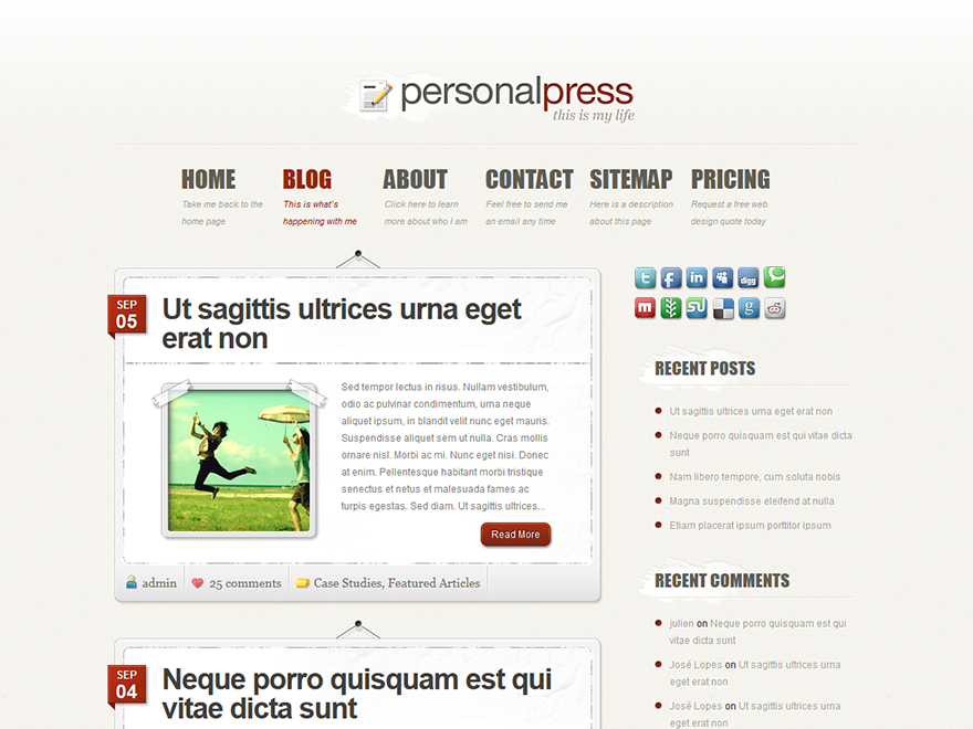PersonalePress - Elegant Themes templates free of charge on Altervista