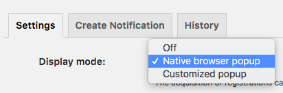 Push notification - native browser pop up